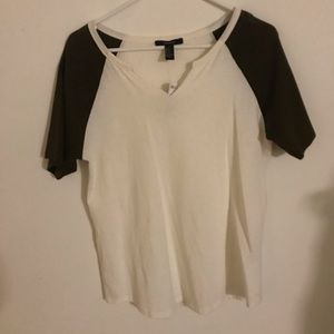 Forever 21 - Cream and Hunter Green Baseball Tee
